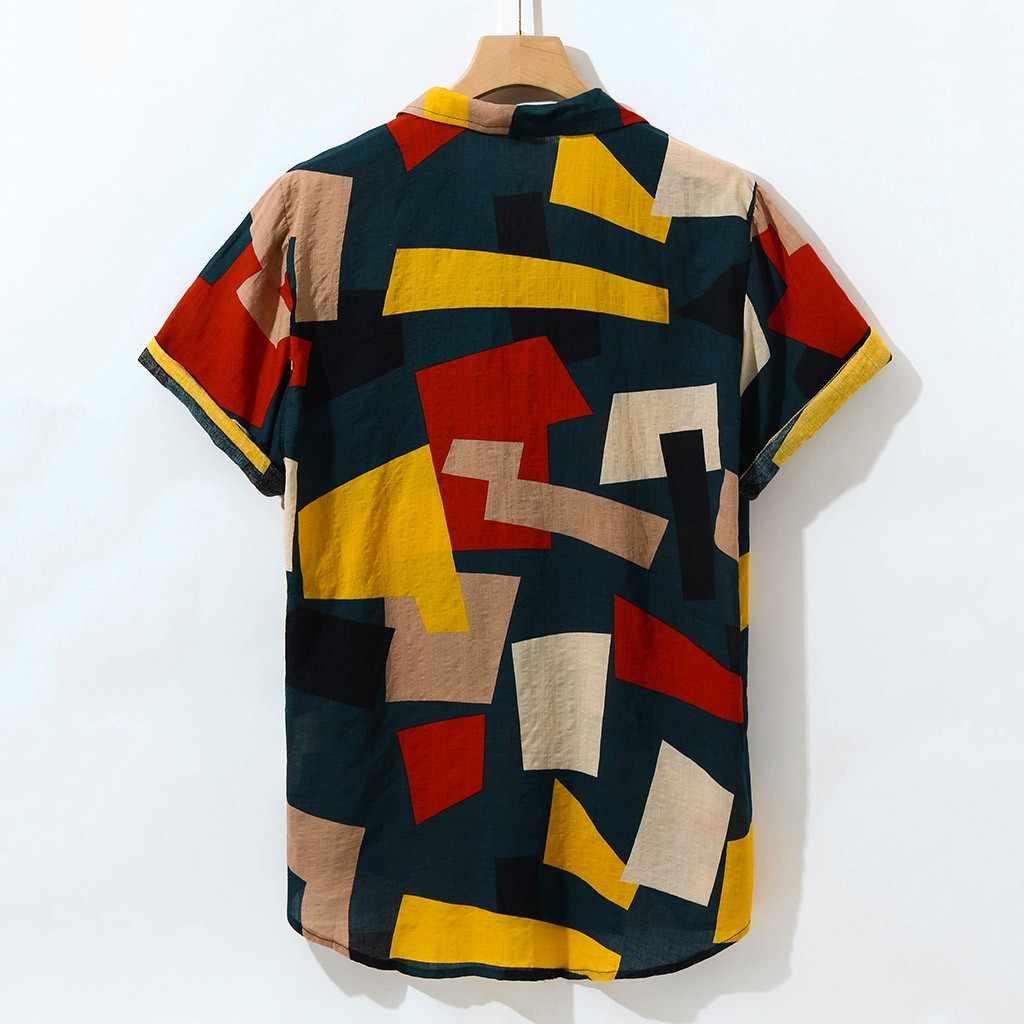 Повседневная мужская рубашка 2019 Летняя Пляжная рубашка блузка с геометрическим принтом гавайская рубашка Свободная Повседневная рубашка на пуговицах camisa masculina