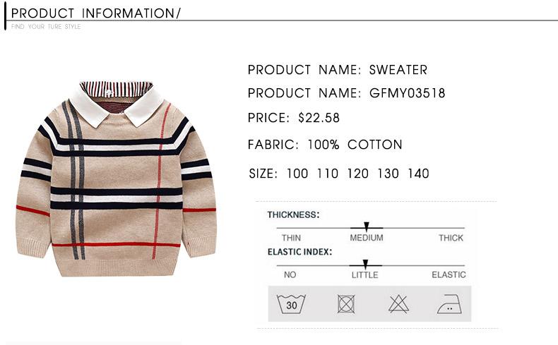 HTB1mN8aacnrK1RkHFrdq6xCoFXa2 - 2018 Autumn Boys Sweater Plaid Children Knitwear Boys Cotton Pullover Dual Collar Sweater Kids Fashion Outerwear Toddler