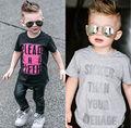 Футболки малыши дети мальчики дети одежда футболка с коротким рукавом хлопок шорты серый черный свободного покроя топы лето 2-7Y