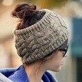 [Dexing] das mulheres chapéu gorro de tricô de lã esporte top oco fora para rabo de cavalo cabelo casual esporte quente de alta qualidade jovem meninas cap