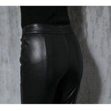 Качественные кожаные штаны из овчины осень зима женские тонкие овечьи кожаные штаны OL Карандаш Брюк
