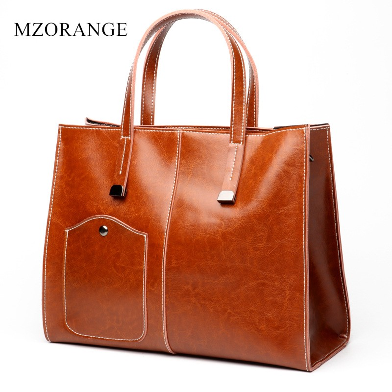 MZORANGE Fashion Oil wax leather handbag genuine leather women bags casual tote simple design female shoulder bag Messenger Bags new 2017 fashion brand genuine leather women handbag europe and america oil wax leather shoulder bag casual women
