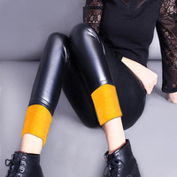 2017 Winter Warm Leggings Thick Gold Velvet Solid Faux Leather Leggins Black High Elastic Thin Imitation