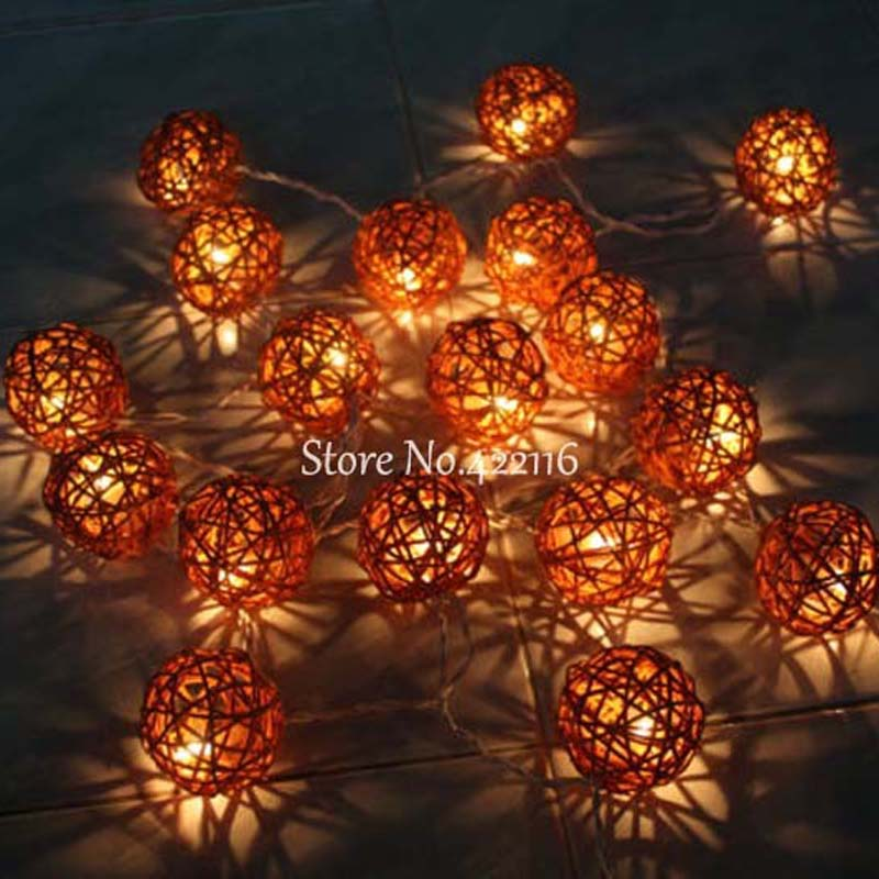 20 Coffee Rattan Ball Lights Battery Operated LED Christmas Lights