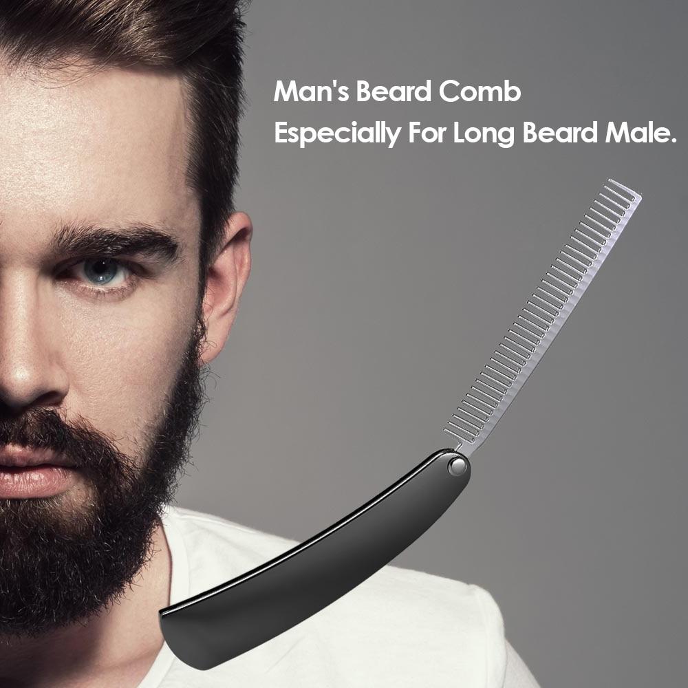 Beard Comb Stainless Steel Shaping Tool Foldable Men Gentleman Beard Trim Shaving Mini Pocket Comb Portable Male Mustache Brush 5