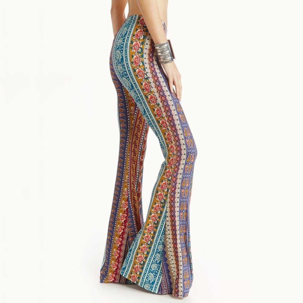 2019 yeni yaz Boho Vintage etnik çiçek baskı çingene kadın yüksek bel çan alt gevşek geniş bacak Flared uzun pantolon trouse