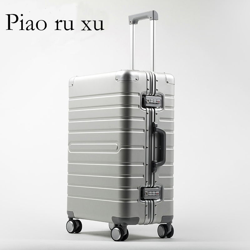 20 24 28 inch 100 aluminium rolling luggage travel suitcase aluminum spinner trolley bag on wheel