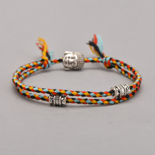 Этнический тканый амулет с головой тибетского Будды, разноцветные браслеты и браслеты для женщин и мужчин, ручной работы, браслет с подвеской Будды, подарок