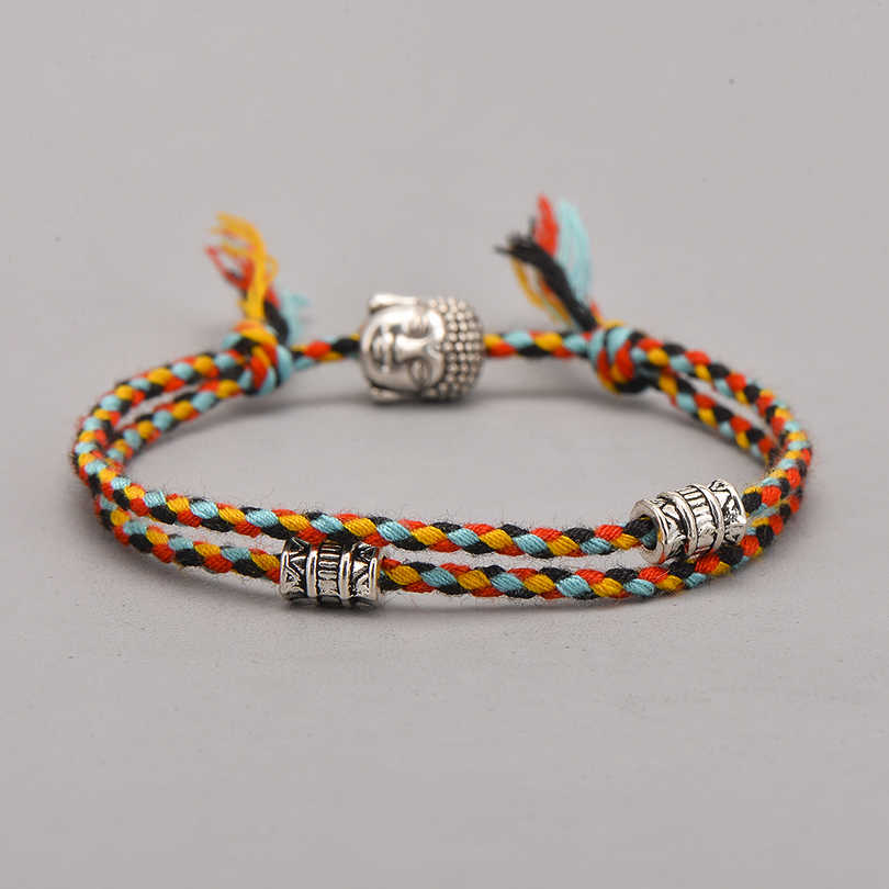 אתני טיבטי בודהה ראש ארוג קמע צבעים צמידים וצמידים לנשים גברים בעבודת יד חבל בודהה קסם צמיד מתנה