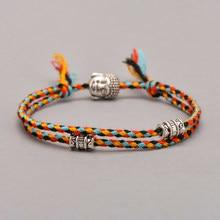 Ethnic Tibetan Buddha Head Woven Amulet Multicolor Bracelets & Bangles For Women Men Handmade Rope Buddha Charm Bracelet Gift(China)