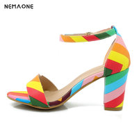 NVXIEUNION Fashion Sandals Woman Good Quality High Heels Summer Party Shoes 2017 New Style 4 Color