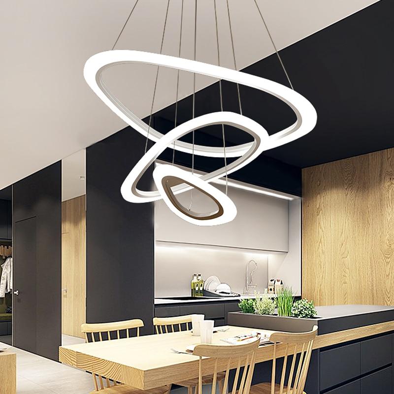Modern LED pendant lights for living room dining room 3/2/1 Triangle Rings acrylic aluminum body LED Pendant Lamp modern 3 color adjustable triangle