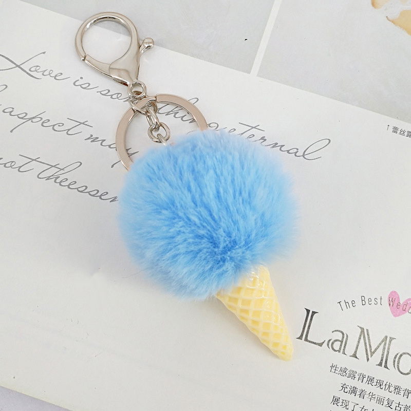 Fashion Faux Rex Rabbit Fur Pom Pom Keychain Pompom Ice Cream Key Chain Pompon Fur Ball Key Ring Llaveros Chaveiros Porte Clef pom pom ball applique rabbit print pullover