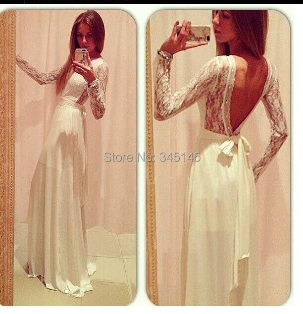 Evening Dresses Elegant White Backless Sexy Long Evening Dresses Lace Chiffon Fashion Women Maxi Formal Dress For Party Vestido De Festa Ture 100% Guarantee