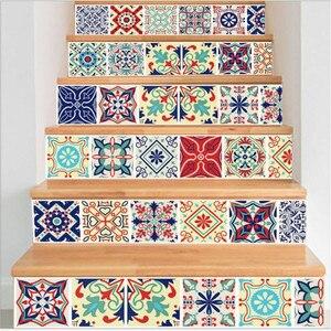 Image 3 - 6PCS 이동식 계단 스티커 단계 자체 접착 세라믹 타일 PVC 계단 벽지 데칼 비닐 계단 홈 인테리어 18x100CM