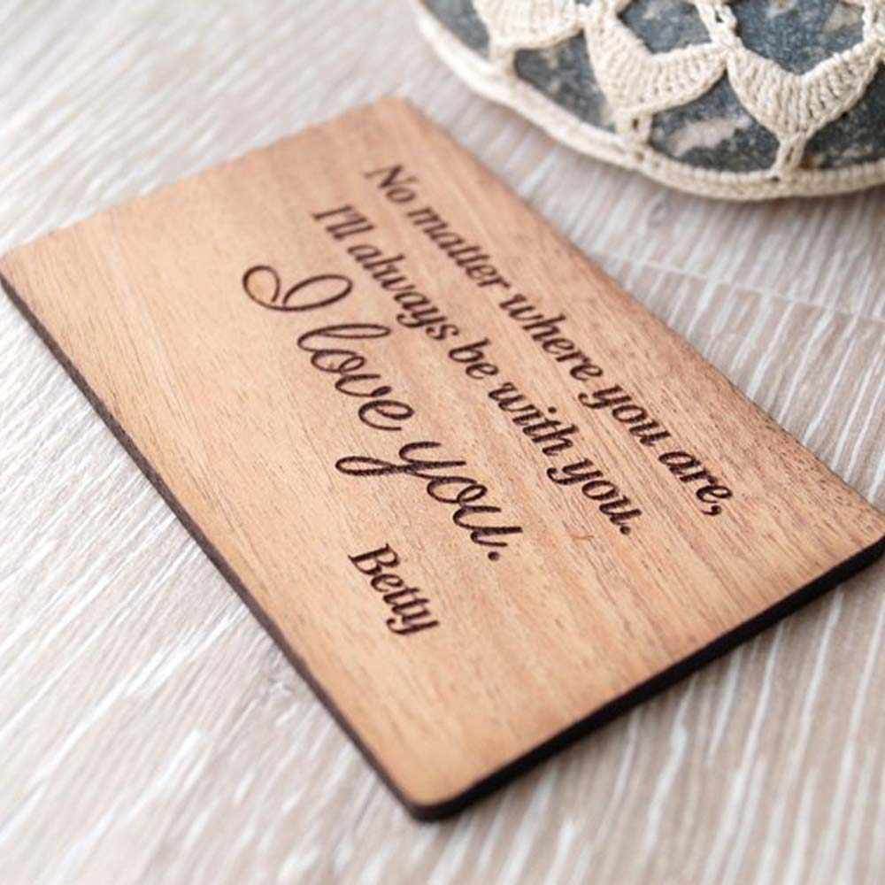 ... Personalized 5th wedding anniversary gift idea, wood wallet insert card, Custom wallet card,