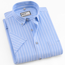 100% Cotton Fashion Shirt Striped color Oxford Shirts Brand Mens Dress Summer short sleeve