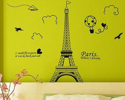 New Paris Eiffel Tower Vinyl Art Decal Mural Home Room Wall Sticker Decor 6
