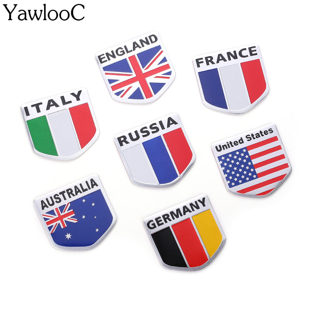 3D Aluminum Italy Germany France Russia Australia United States Map National Flag Car Sticker Car Styling