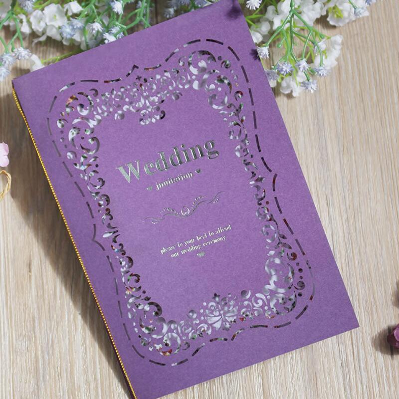 Wedding Invitations High End: 20pcs/lot Laser Cutting Purple Paper Folding Invitation