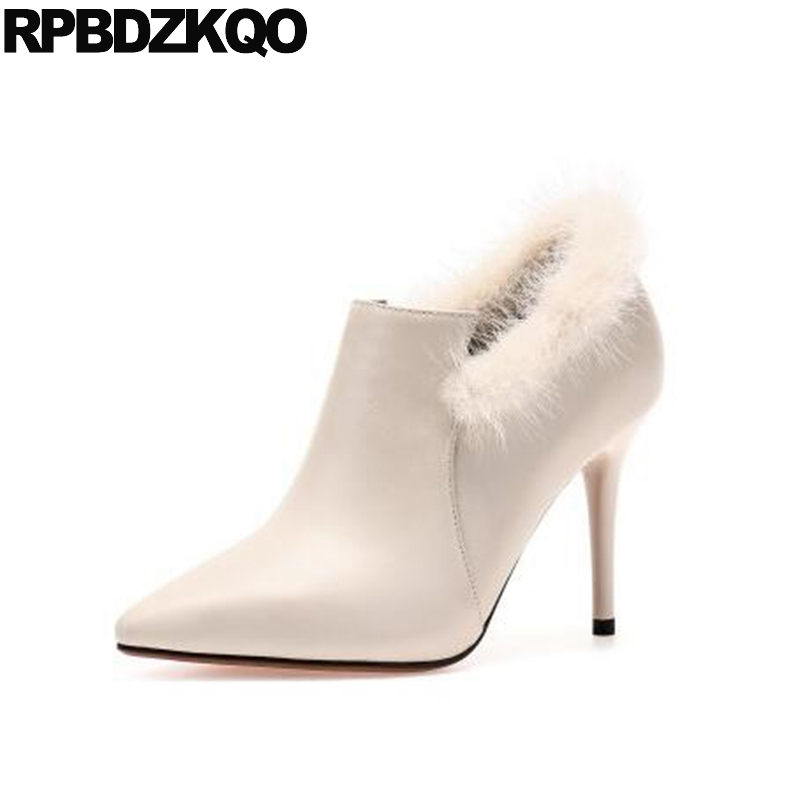 Boots Short Mink Stiletto Sexy Beige High Heel Pointed Toe Designer Shoes Women Luxury 2017 Real Fur Ankle Booties Zipper Autumn trendy buckle style cut out thin heel sandal booties sexy pointy stiletto heel ankle boots elegant women burgundy suede booties