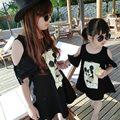 Nueva Familia Juego Trajes de Dibujos Animados Ropa de la Familia Camiseta Del Verano Camisa de Algodón Mom Daughter Tees