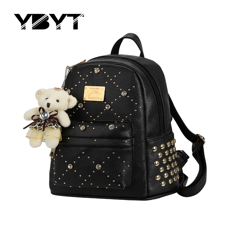 YBYT brand 2017 new leisure diamonds rivet rucksack high quality font b women b font shopping
