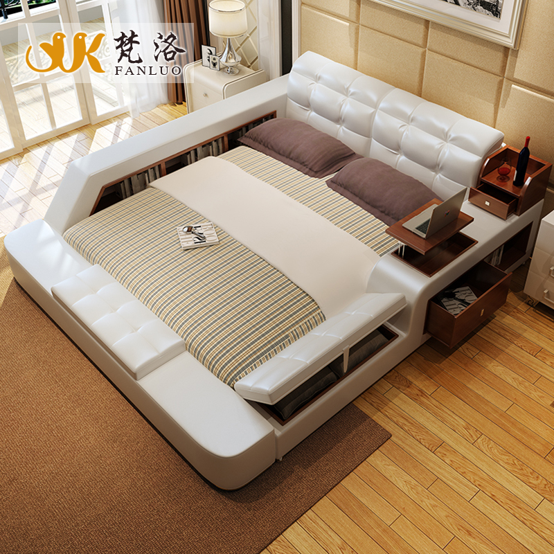 bedroom furniture sets modern leather queen size storage bed frame with side storage cabinets stool no mattress b03q - Modern Queen Bed Frame