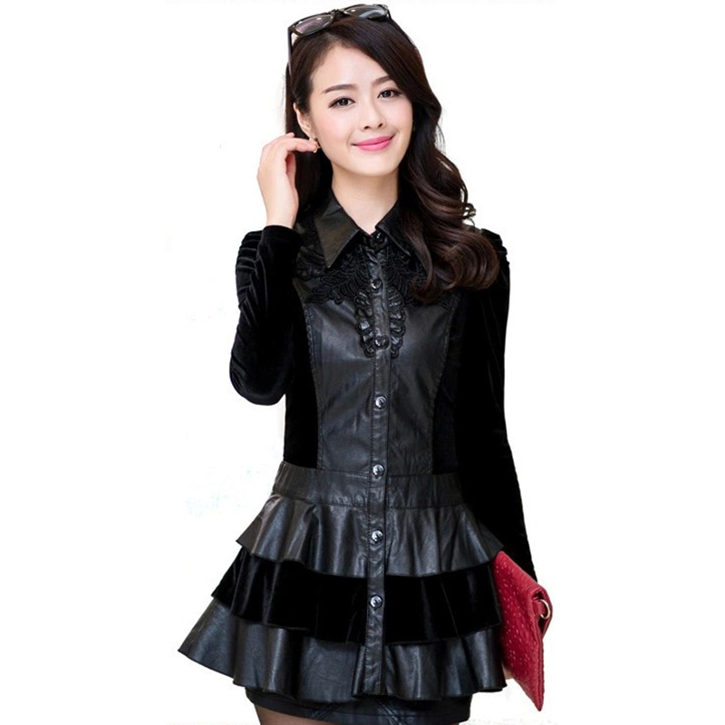 2018 Autumn new PU   leather   jacket women Plus size L-4XL Fashion long Ruffles stitching lapel black dress Casual jacket YM031