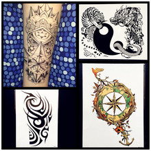Waterproof Temporary Tattoo Compass Designs Fake Body ARt ARm Sleeves Legs Tattoo Stickers 21x15CM Women Men Black Totem Tatoos