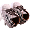 Малыш Младенческая Baby Boy Shoeslaces Повседневная Тапки Пу Плед Мягкой Подошвой Детская Кровать В Обуви YEW331