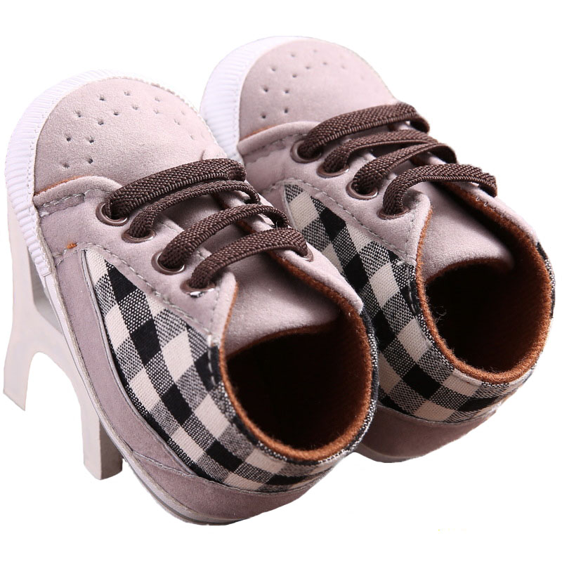 Toddler Infant Baby Boy Shoeslaces Casual Sneaker Pu Plaid Soft Sole Crib Shoes YEW331