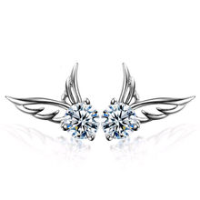 2017 Promotion Earrings Feather Trendy Earings Brincos Earring High Quality Ladies Fashion Plated Jewelry Angel Wings Ear Stud(China)