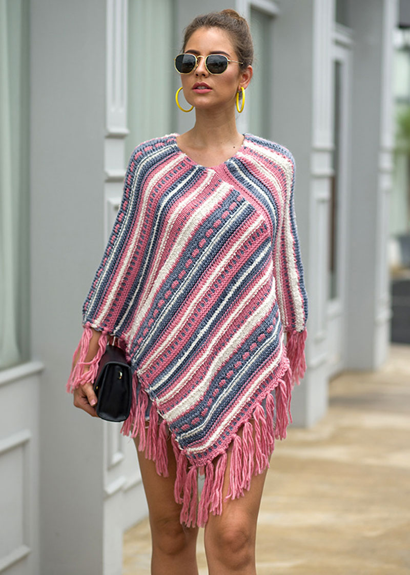 V-Neck Sweaters Cloaks Pullovers Wraps GRAND Fashion Women Kintted HEE Striped Tassel