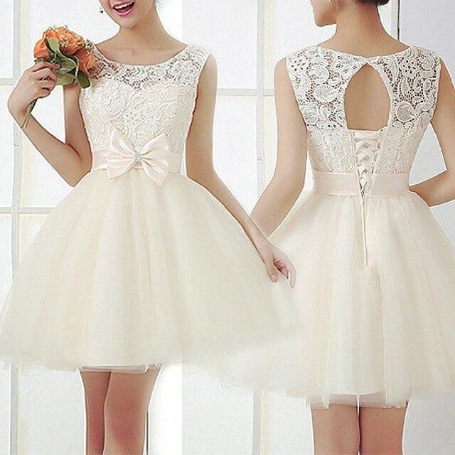Cute Women Summer Style Sleeveless Mini Dress Wedding Bridesmaid Organza Bow Lace White Dresses Vestido Renda