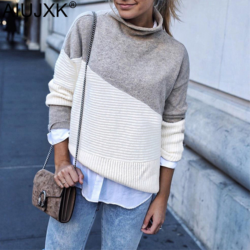AIUJXK 2019 New Arrival Patchwork Turtleneck Pullover Women Knitwear Autumn Winter Sweaters And Pullovers Casual Knitted Jumper