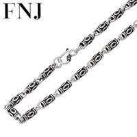FNJ 6mm Punk Chain Necklaces 925 Silver 50cm to 65cm Fashion Original S925 Thai Silver Women Men Necklace Jewelry Bamboo