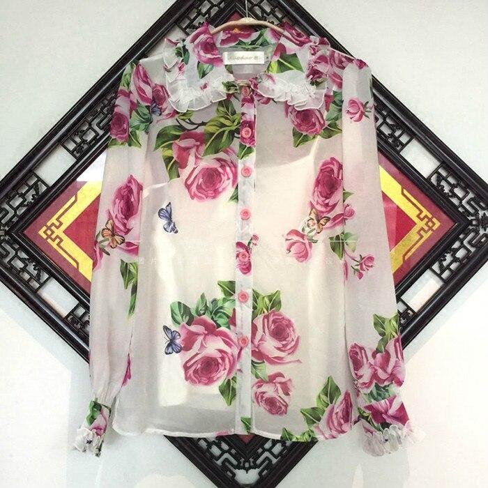 Korean Promotion Sale Rayon Women Tops Blusas Mujer De Moda 2019 Rose Butterfly Printed Wood Ear Petal Sleeve Chiffon Shirt