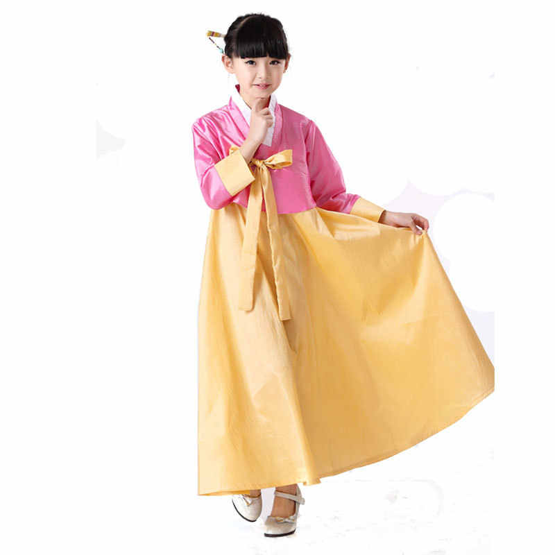 Blouse + Skirt 120-150cm Children Hanbok Dress Girl Korean Hanbok Costume Kids Korean Traditional Dance Costume Stage Cosplay 89