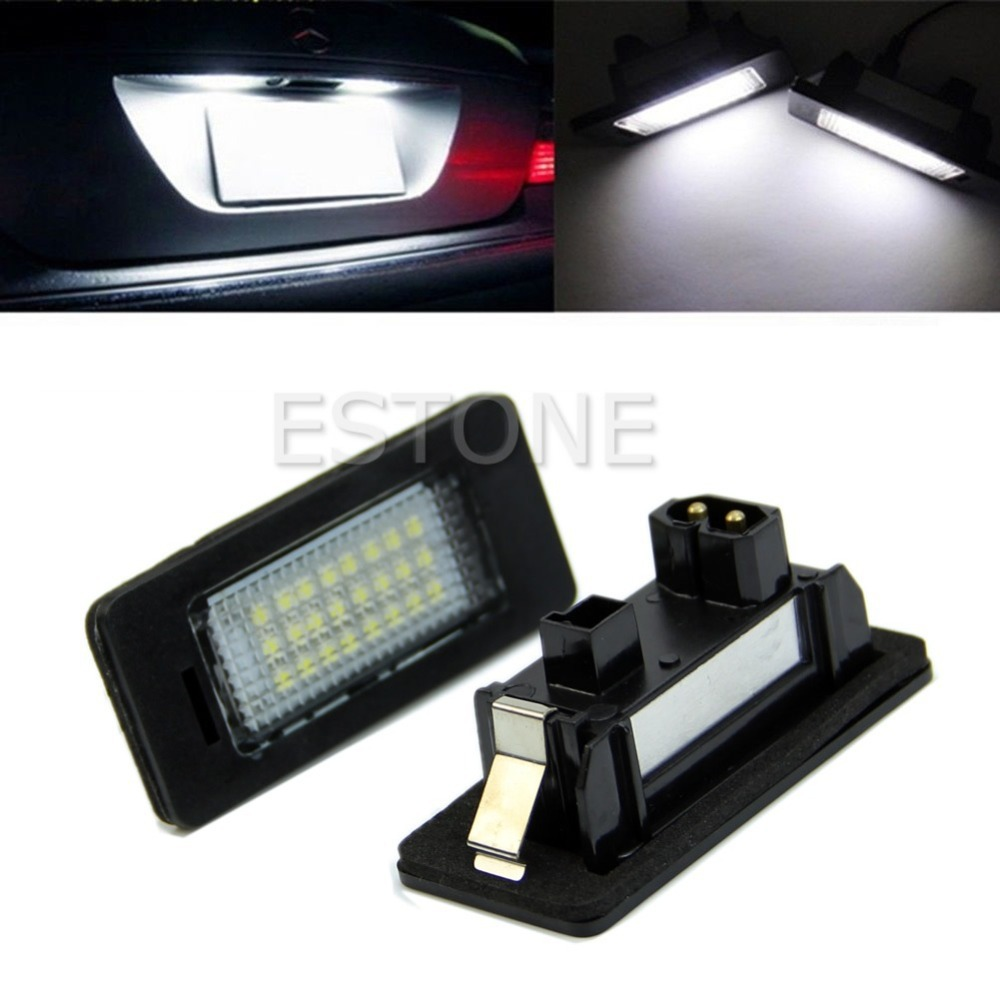 2 x 24-LED Error Free Signal Lamp License Plate Light For BMW E92 E93 M3 E90 E70 E60 E39 F30 2x e marked obc error free 24 led white license number plate light lamp for bmw e81 e82 e90 e91 e92 e93 e60 e61 e39 x1 e84