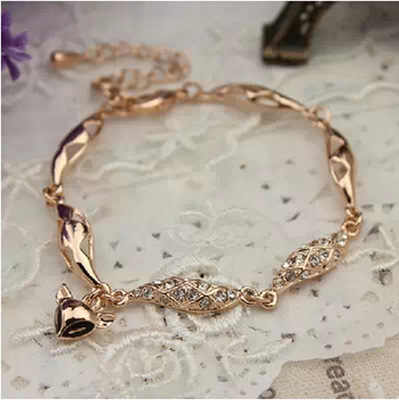 Rose gold สีสวยน่ารัก cat eyes fox สร้อยข้อมือเครื่องประดับสำหรับผู้หญิง Charming คริสตัล