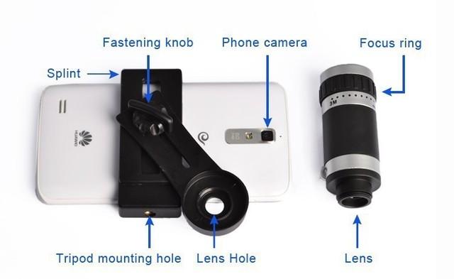 Envío Libre Cámara del teléfono Móvil Lente Del Telescopio 8X Zoom Teleobjetivo Móvil para iphone 4 4s 5 5s 6 para samsung galaxy s Smartphone