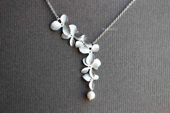 QIMING nowa Orchid kwiat ślub naszyjnik kobiet panny młodej zaręczyny prezent moda elegancki biżuteria srebrna perła naszyjnik Collier