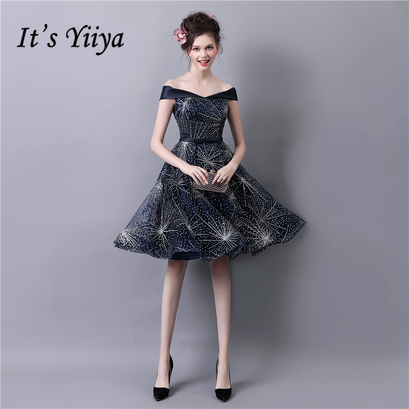 It's YiiYa Deep Blue Boat Neck Lace Up Fashion Designer Luxury Elegant Cocktail Gowns Bling Crystal Cocktail Dress LX280