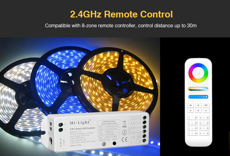 2 4G wireless control Mi Light LS2 DC12V-24V 5 in 1 Smart LED Controller  for Single Color, CCT, RGB,RGBW,RGB+CCT LED Strip light