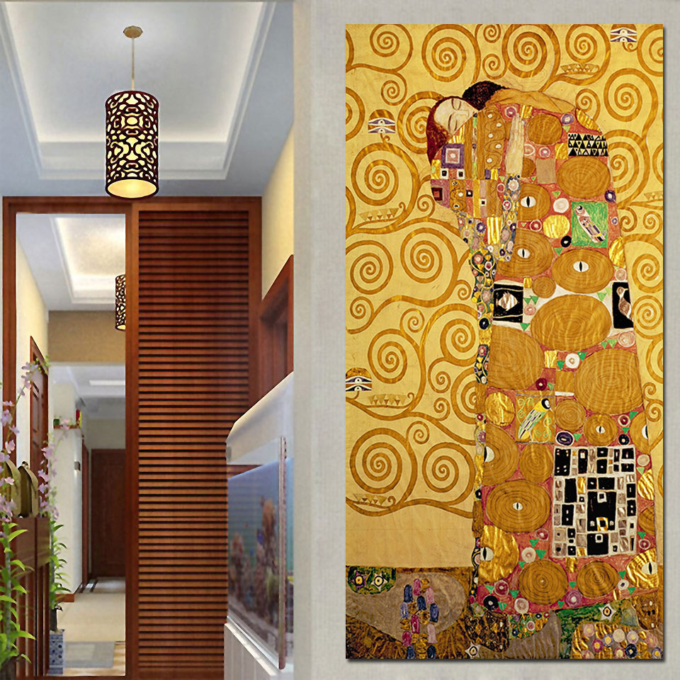 1 Piece The Embrace Die Umarmung Gustav Klimt Article Modular Poster HD Prints Home Decor Canvas Paintings Wall Art Picture