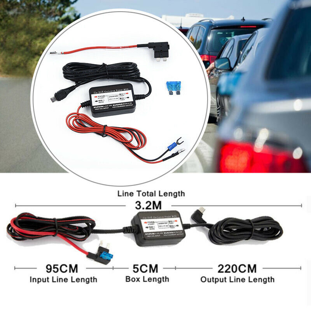 DC12-30V To 5V Power Adapter Cord <font><b>Cable</b></font> 1Set <font><b>Car</b></font> Hard Wire Kit <font><b>Car</b></font> <font><b>DVR</b></font> Buck Line for NEXTBASE Dash Camera Micro Mini <font><b>USB</b></font> image