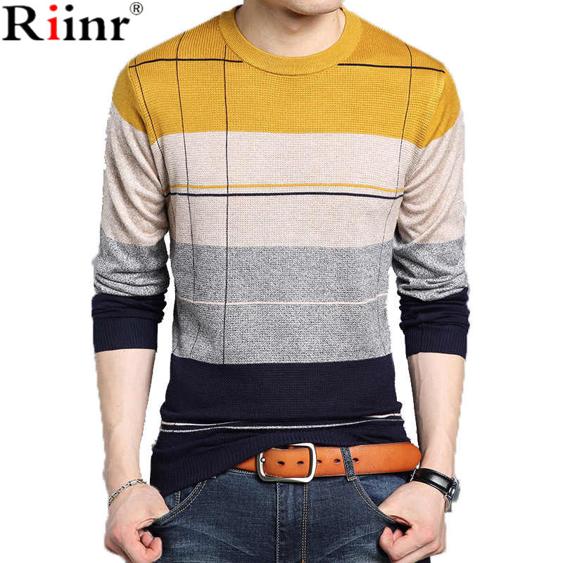 Riinr New Cashmere Wool Sweater Men Autumn Winter Slim Fit Pullovers Men Argyle Pattern V-Neck Pull Homme Christmas Sweaters