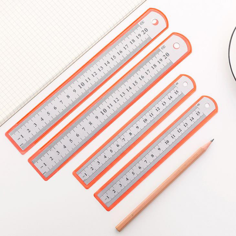 1 Pcs Novelty Stainless Steel Ruler 15/20cm Metal Long Ruler Scale Drawing Measuring Metal Straight Rulers Student Stationery