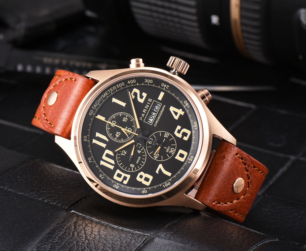 43mm Parnis Brand Quartz Watch Men Black Dial Golden case Chronograph Week Calendar Sapphire Glass Quartz Movement Men's Watches orlando z400 golden case quartz watch for men